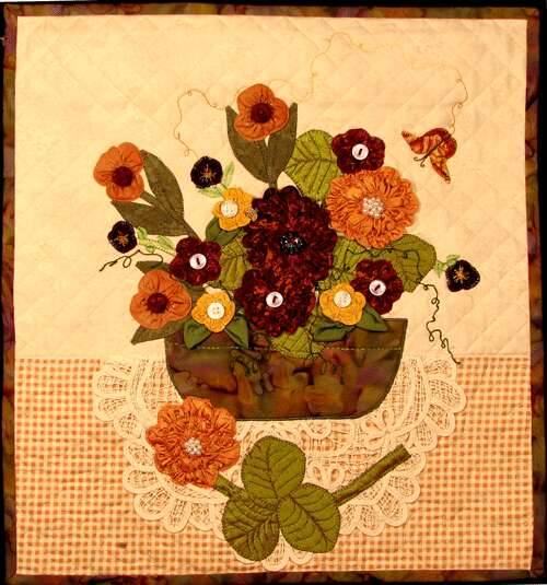 Heavenly Flowers. 15 x 15 inch wall-hanging quilt with variety of ruched flowers. Pattern will soon be available that allows you to create your own colorful basket flowers. Original copyrighted wall-hanging design by Rita Meyerhoff.