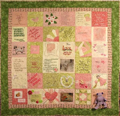 This memory quilt was made specially to honor Molly.