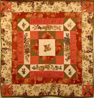 44 x 44 inch quilt created as an original copyrighted design by Rita Meyerhoff.